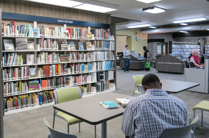Napa Main Library offers plenty of reading and work spaces, and lots of periodicals